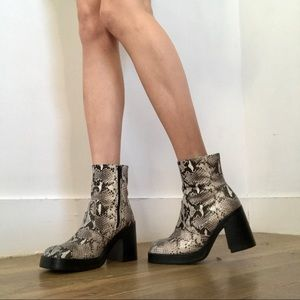 ROC Australia faux snake skin ankle boots